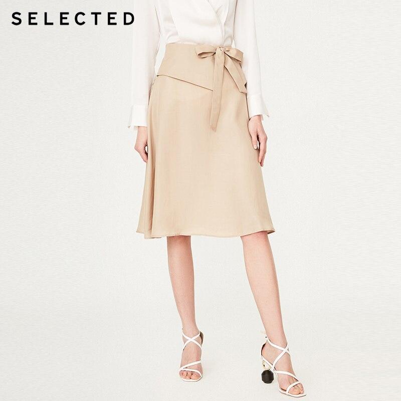 SELECTED Women's Waist Fold Bowknot A-line Skirt|  41924C516