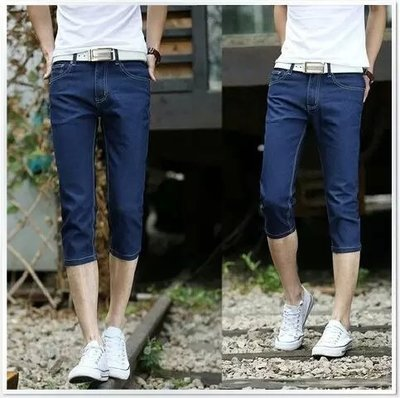Summer New Products Thin Jeans Men's Slim Fit Straight-Cut Capri Pants Young MEN'S Casual Men's Trousers Fashion