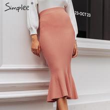 Midi Skirt Simplee Mermaid Knitted Elegant Autumn Winter Office Lady Women Female Work-Wear