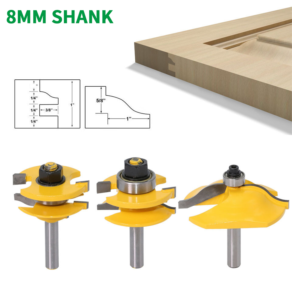3PCS/Set 8MM Shank Milling Cutter Wood Carving Raised Panel Cabinet Door Router Bit Set 3 Bit Ogee Woodworking Cutter Router Bit