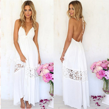 Hot Summer White Lace Patchwork Dress Lace-up Halter Camisole Reveal Back Beach Full Dresses For Women 2019