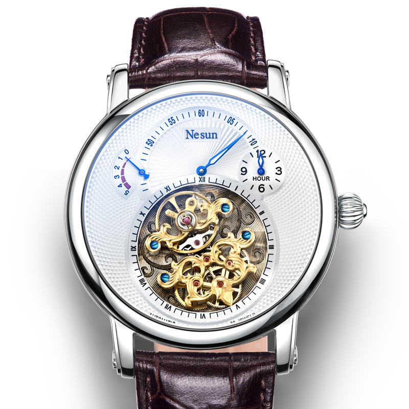 สวิตเซอร์แลนด์ Luxury ยี่ห้อ Nesun กลวง Tourbillon นาฬิกาผู้ชายอัตโนมัตินาฬิกา Sapphire นาฬิกากันน้ำ N9081 4-ใน นาฬิกาข้อมือกลไก จาก นาฬิกาข้อมือ บน   1