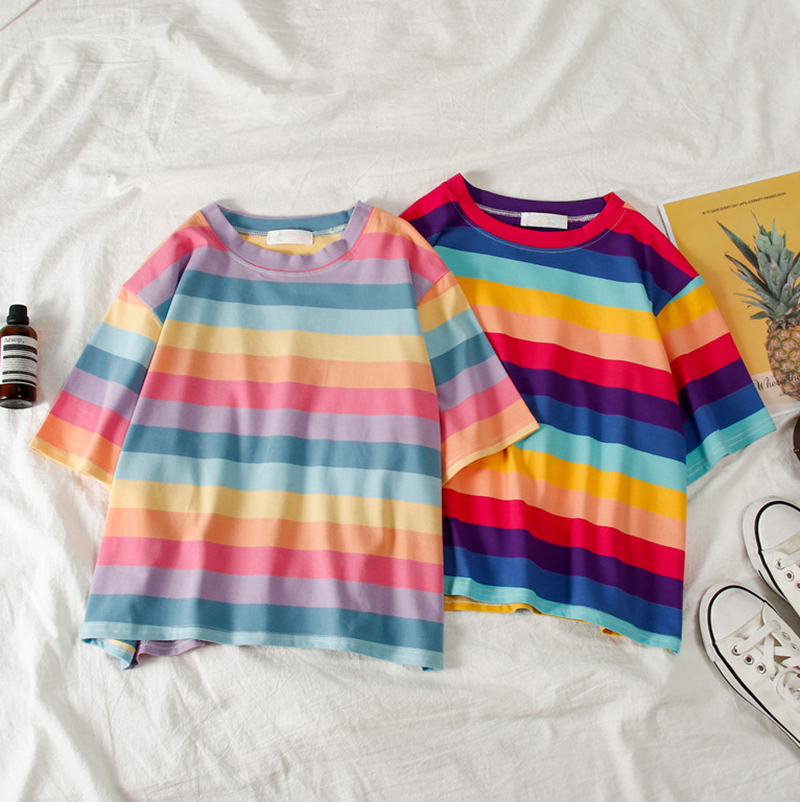 New casual tshirt loose rainbow striped O-neck short-sleeved women t-shirt tops female t shirt cloth Harajuku clothes brandy(China)