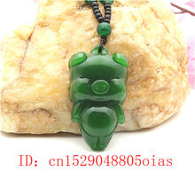 Natural Green Chinese Jade Cute Pig Pendant Beads Necklace Fashion Charm Jadeite Jewelry Carved Amulet Gifts for Women Men(China)