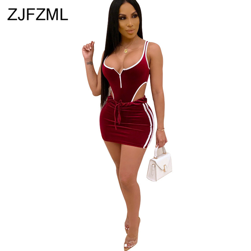 Striped Sexy 2 Piece Skirt Set Women Clothes 2019 Backless Front Zipper Bodycon Short Bodysuits + Short Skirts Fall Track Suit