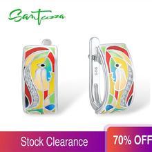 SANTUZZA Silver Earrings For Women 925 Sterling Silver Face Earrings White CZ  Stones Fashion Jewelry Colorful Enamel Handmade