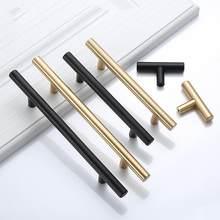 Poignée de porte en acier inoxydable brossé, disponible en noir et doré, idéale pour placard de cuisine ou tiroir