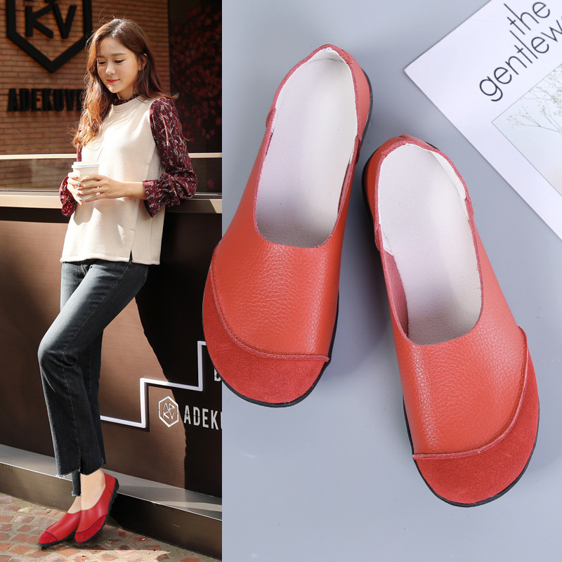 2020 Four Seasons New Products WOMEN'S Casual Shoes Genuine Leather Soft Bottom Moccosins Wear-Resistant Anti-slip Girl'S Versat