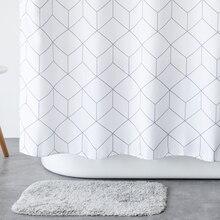Aimjerry cortina de ducha de tela de baño para bañera, color blanco y gris, con 12 ganchos, 71W x 71H, resistente al agua y al moho, 041