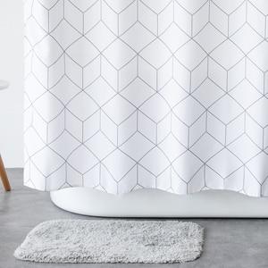 Image 1 - Aimjerry rideau de douche en tissu pour baignoire blanc et gris, pour salle de bain, avec 12 crochets, 71W x 71H, imperméable et anti moisissures de haute qualité 041