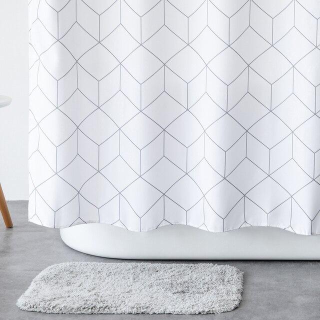 Aimjerry rideau de douche en tissu pour baignoire blanc et gris, pour salle de bain, avec 12 crochets, 71W x 71H, imperméable et anti moisissures de haute qualité 041