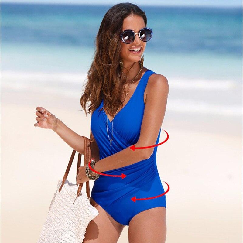 Купить с кэшбэком 2020 New One Piece Swimsuit Women Plus Size Swimwear Retro Vintage Bathing Suits Beachwear Print Swim Wear Monokini 4XL