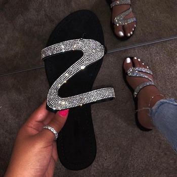 Kobiety sandały platforma kobieta rzym nowy 2020 moda buty damskie letnie sandały Rhinestone buty damskie Flip Flop Chaussures Femme tanie i dobre opinie KUIDFAR CN (pochodzenie) Podstawowe Mieszkanie z Otwarta Mieszkanie (≤1cm) Na co dzień Slip-on Pasuje prawda na wymiar weź swój normalny rozmiar