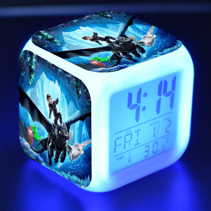 Anime Figurines How To Train Your Dragon Toothless Colorful Flash Touch Light Alarm Clock Toothless Dragon Figure Kids Toys