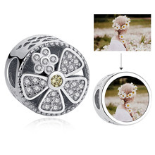 Round Charms Custom Photo Flower Shimmery Rhinestone Crystal Beads for Women Girls Femme DIY 925 Sterling Silver Jewelry Gift(China)