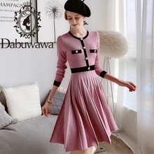 Dabuwawa Elegant Pink Knit Dress Women Autumn Winter O-Neck Long Sleeve Single Breasted Fit and Flare Dress Female DT1DDR010