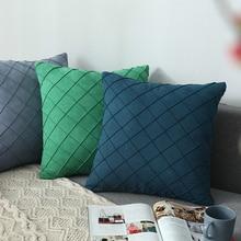Modern Simple Nordic Pillow Cover Suede Checker Cushion Decorative Pillows case Lattice Seat  Home