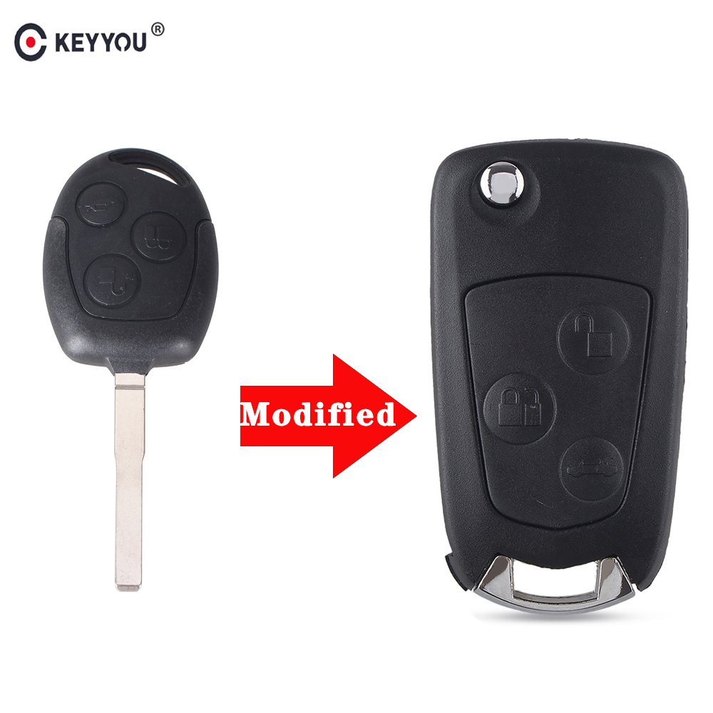 KEYYOU 3 Buttons Modified Folding Remote Car Key Shell Case For Ford Focus Fiesta Fusion
