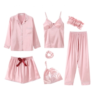 Image 3 - JULYS שיר 7 חתיכות פו משי כתם פיג מה סטים עם כרית חזה Pyjama סקסי קלע מכנסיים ארוך שרוול ארוך מכנסיים הלבשת למעלה