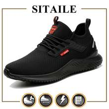 Sitaile Мужская защитная обувь стальной носок неразрушаемая