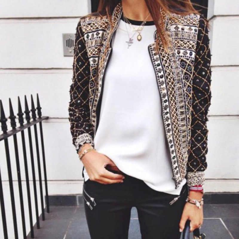 ผู้หญิงฤดูใบไม้ผลิฤดูใบไม้ร่วง Punk Boho แขนยาวบางพิมพ์เสื้อแจ็คเก็ตสุภาพสตรี 2019 ฤดูใบไม้ร่วงแฟชั่น Windbreaker เสื้อผ้า XXXL