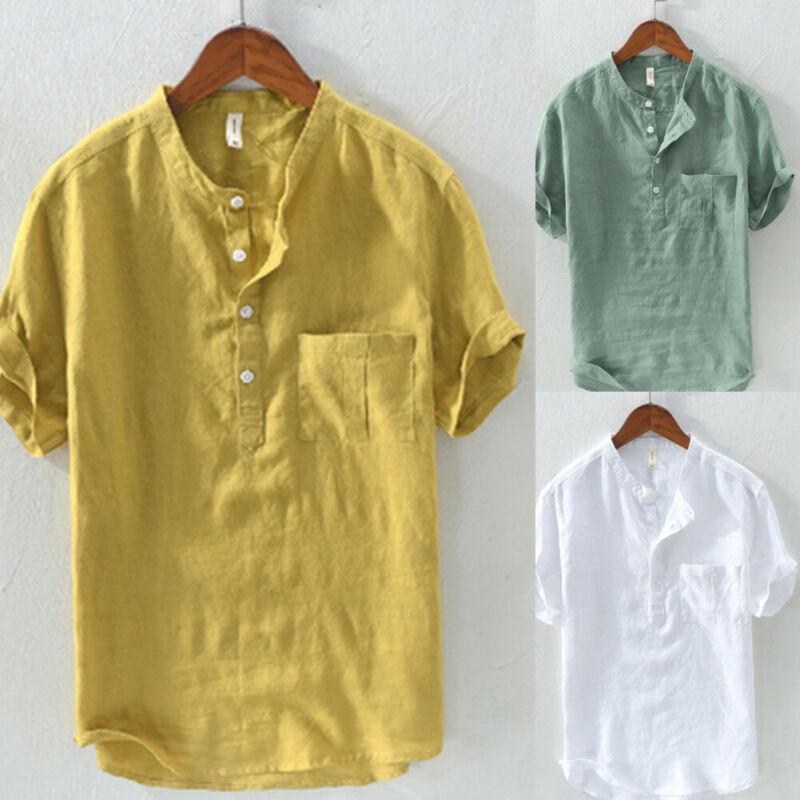 Men  Pure Linen Pullover Men Casual Shirts