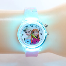 Princess Elsa Children Watches Kids Spiderman Colorful Light Source Boy