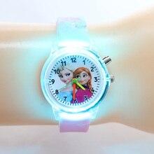 Prinzessin Elsa Kinder Uhren Kinder Spiderman Bunte Lichtquelle Jungen Uhr Mädchen Party Geschenk Uhr Handgelenk Relogio Feminino