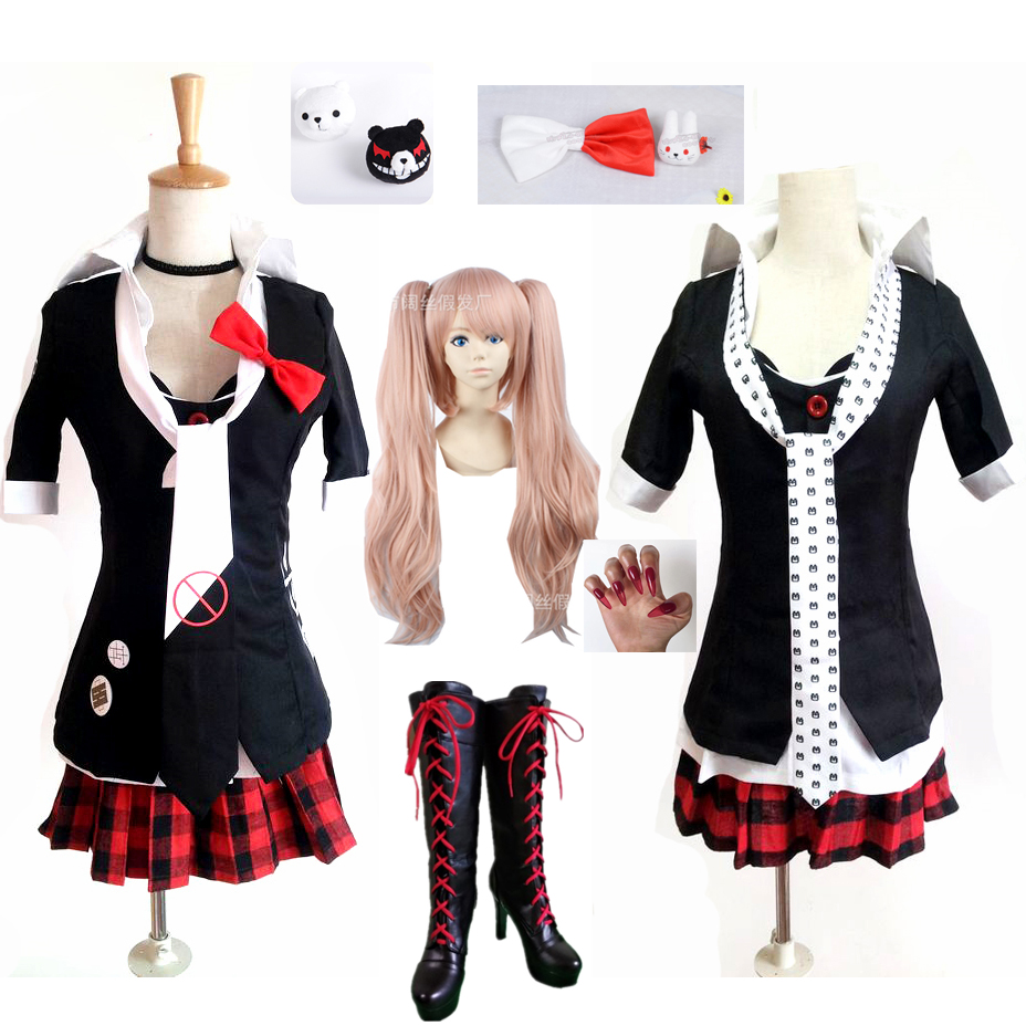Danganronpa Cosplay Anime Junko Enoshima Emboitement Inushio Kimuchi Dangan Ronpa Trigger Happy Havoc Cosplay Costume wigs-in Anime Costumes from Novelty & Special Use
