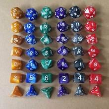 Conjunto de dados poliédricos de 7 pçs/set, jogo de tabuleiro com cores mistas + saco de armazenamento, presente perfeito para trpg amantes do jogo