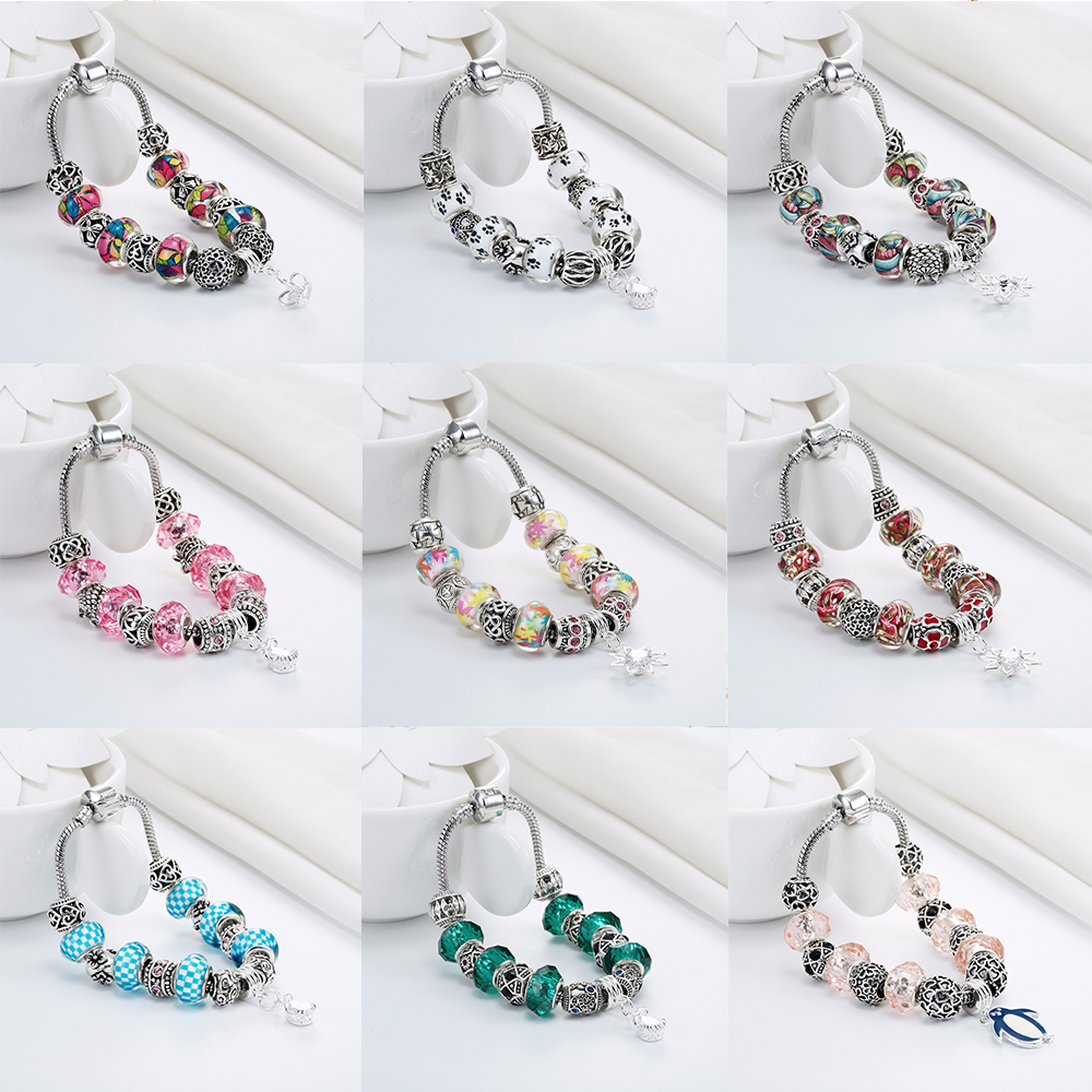 Cxwind Fashion <font><b>Dog</b></font> Footprint Flower Murano Glass&Crystal European Charm Beads Fits diy Style Heart Charms <font><b>Bracelets</b></font> for women image