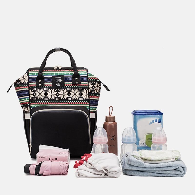 LEQUEEN Fashion sac à maman flocon de neige | Sac de rangement multifonctionnel de grande capacité, sac de voyage étanche, sac à couches pour bébé