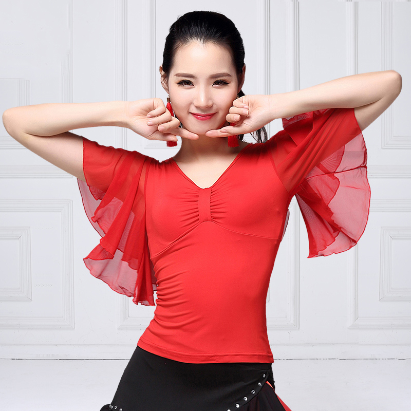 Ballroom Dance Shirts Splicing Mesh Short Sleeve Summer Modern Dancing Clothing Spanish Flamenco Stage Performance Wear DNV11930