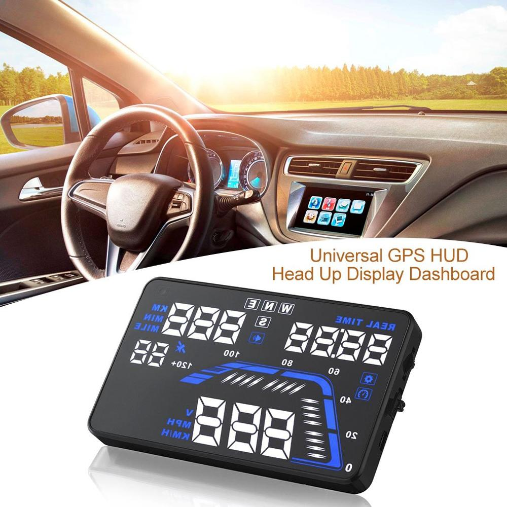 "Q7 5.5"" Universal GPS HUD Head Up Display Dashboard Mounted Projector for Speed Data Time Over Speed Alarm Compass Altitude