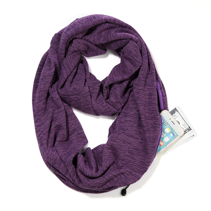 1 Pc New Autumn Winter Zipper Pocket Scarf Convertible Infinity Travel Scarves Women Fashion Snood Scarves Unisex Neck Warmer