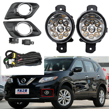 LED fog light for X trail T32 Rogue SUV 2014 2017 fog lights headlight Switch Harness Cover wiring halogen fog lamps