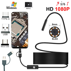 Image 1 - Endoscope HD 1080P Type C/USB Borescope Tube Waterproof Inspection Endoscope Camera With Led Light For Android Phone PC Tablet