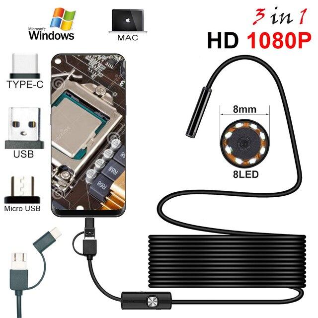 אנדוסקופ HD 1080P סוג C/USB Borescope צינור עמיד למים פיקוח אנדוסקופ מצלמה עם Led אור עבור אנדרואיד טלפון מחשב לוח