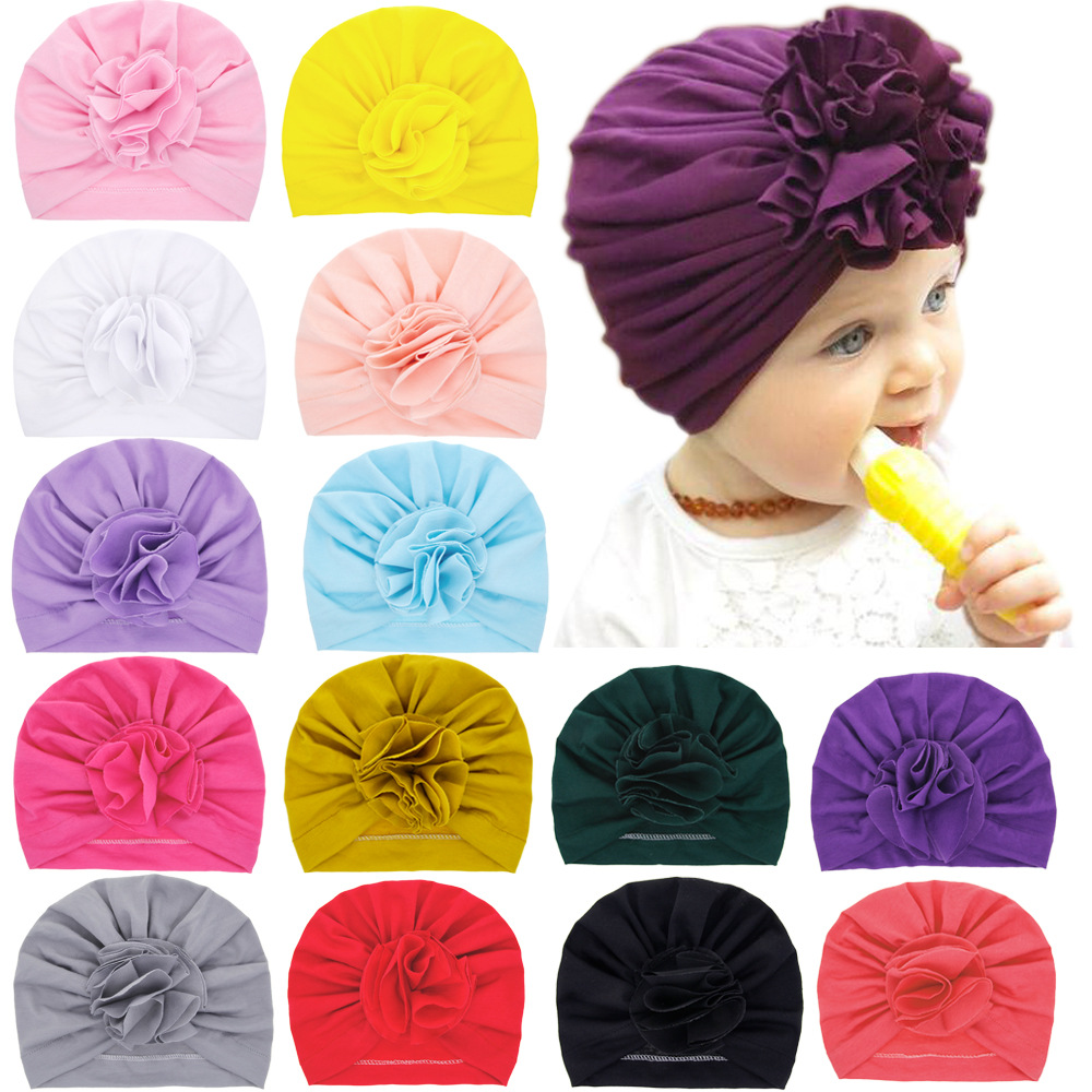 Nishine New Cute Flower Baby Girls Turban Hats Fashion Kids Bonnet Caps Children Photo Props Headwear Hair Accessories