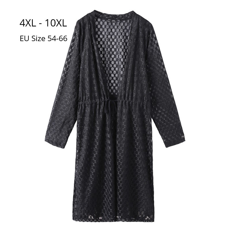 Plus Size 10XL 8XL 6XL Women Long Sleeve V Neck Spring Cardigan Fashion Women Lace Tops Long Style Outwear Femme Slim Cardigan