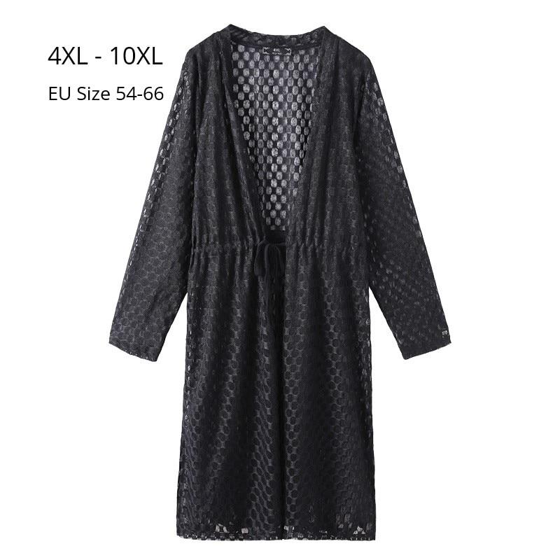 Plus Size 10XL 8XL 6XL Women Long Sleeve V Neck Spring Cardigan Fashion Women Lace Tops Long Style Outwear Femme Slim Cardigan