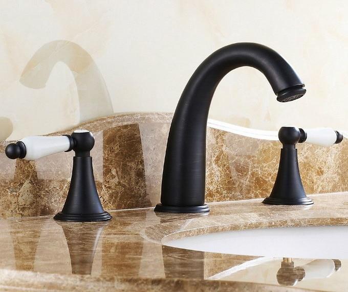 Bathroom Sink Faucet Mixer Tap Widespread Basin 3 Holes Oil Rubbed Bronze