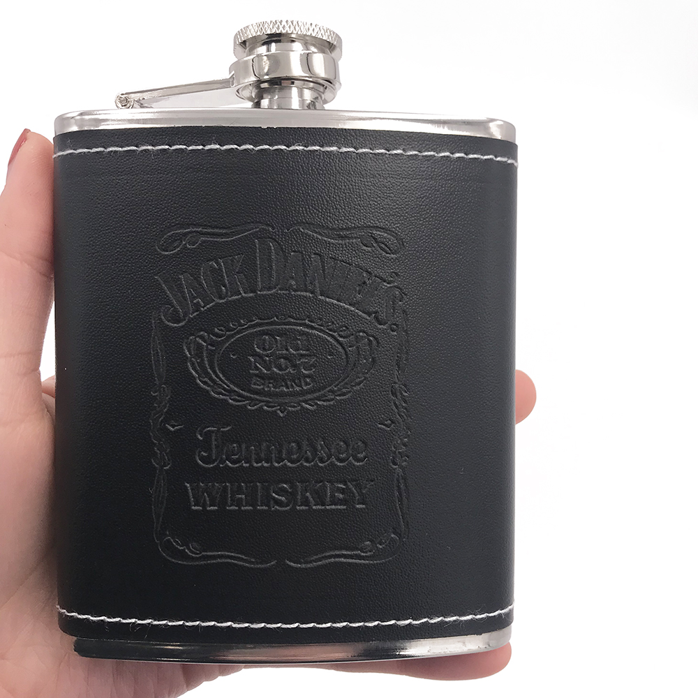 7oz Leather Stainless Steel Hip Liquor Whiskey Alcohol Vodka Pocket Flask Black