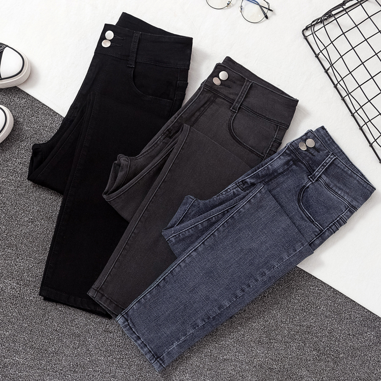 New Woman Skinny Jeans Black Solid Show Slim High Waist Elastic Pencil Pants For Woman Autumn Spring Denim Trousers Female