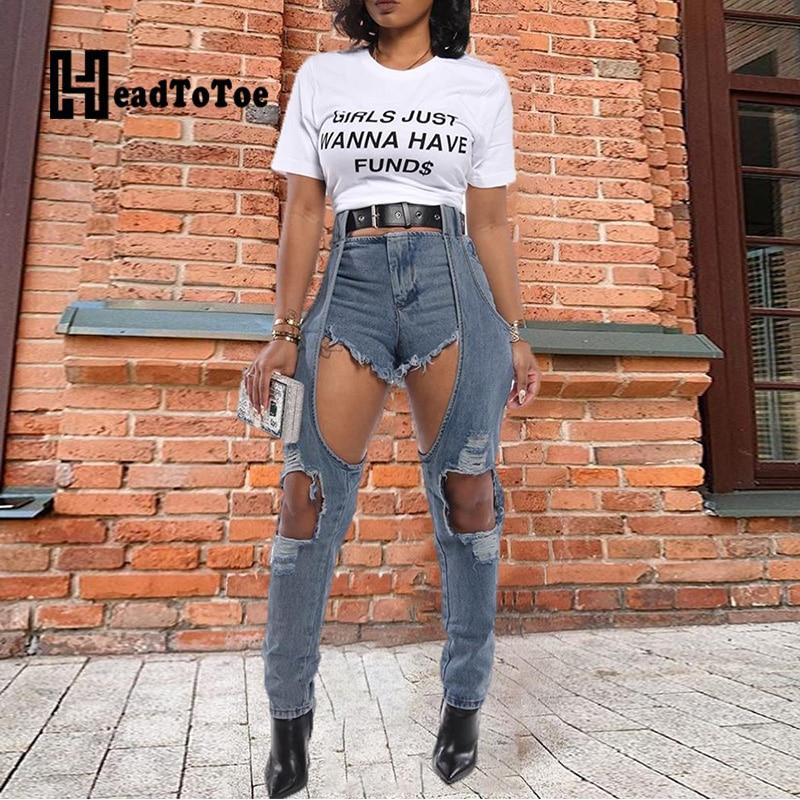 High Waist Denim Cut Out Casual Pants Women Fashion Pencil Pants