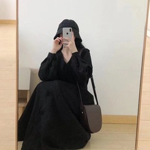 Black Corduroy Women Dress Autumn And Spring Retro Long-Sleeved Long Section Over The Knee Temperament V-Neck Hepburn Style