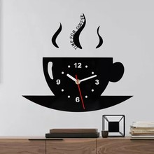 New 3D Wall Clocks Stickers Coffee Vinyl Art Sticker Decal DIY Living Room Office Creative Cup Mirror Clock Hot Sale