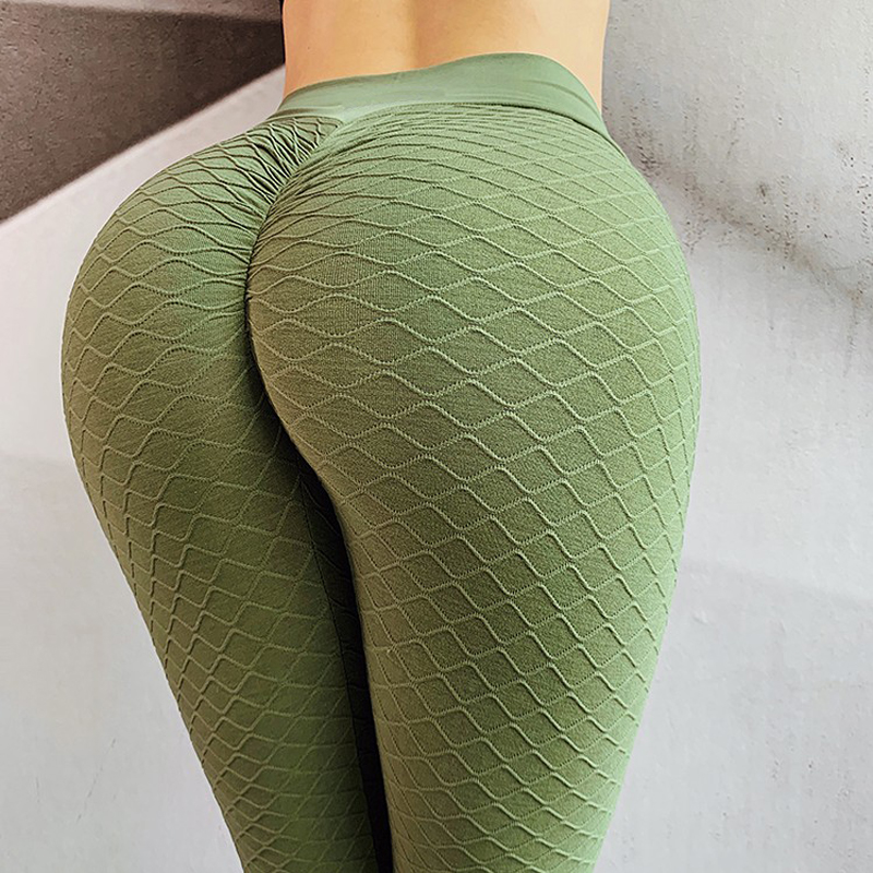 Army Green Fitness Anti Cellulite Texture Leggings Women Pants Solid High Waist Workout Wrinkle Leggings Pants