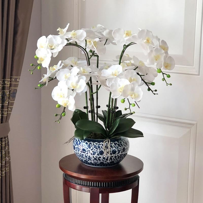 Большие искусственные орхидеи полиуретан с эффектом реального прикосновения рук искусственные Стекло большой искусственная Цветочная ко...
