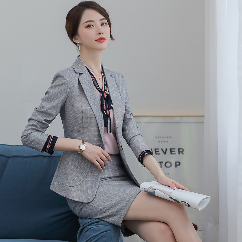 female elegant Women's Gray Plaid Skirt Suit dress Blazer costumes jacket Suits ladies office wear uniforms 2 piece set clothes